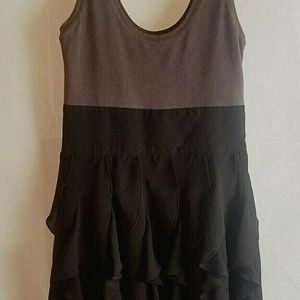 Express Size 4 Tank Top Mini Dress Black Ruffles